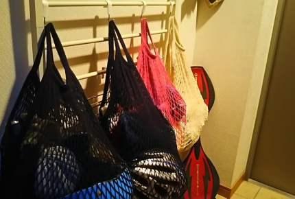 ごちゃごちゃ玄関には、キャンドゥのネットバッグで収納力UP!