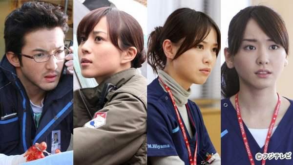 cx『コードブルー』(左から浅利陽介、比嘉愛未、戸田恵梨香、新垣結衣)