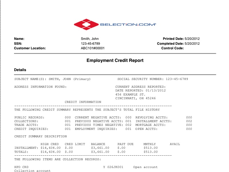 Pre-Employment Credit Report- Selection