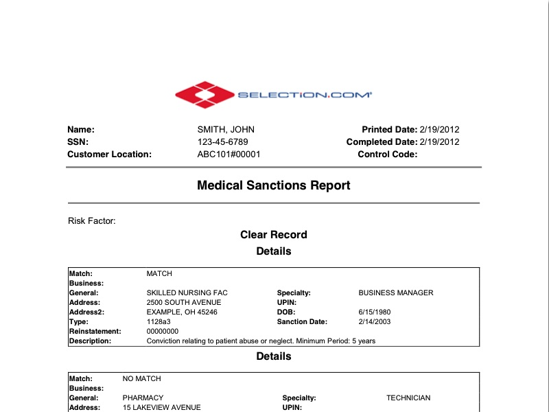 Medical Sanctions Background Check - Selection - background report