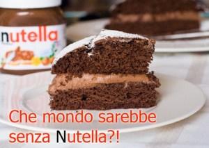 """piece of nutella cake with """"Che mondo sarebbe senza Nutella?!"""""""