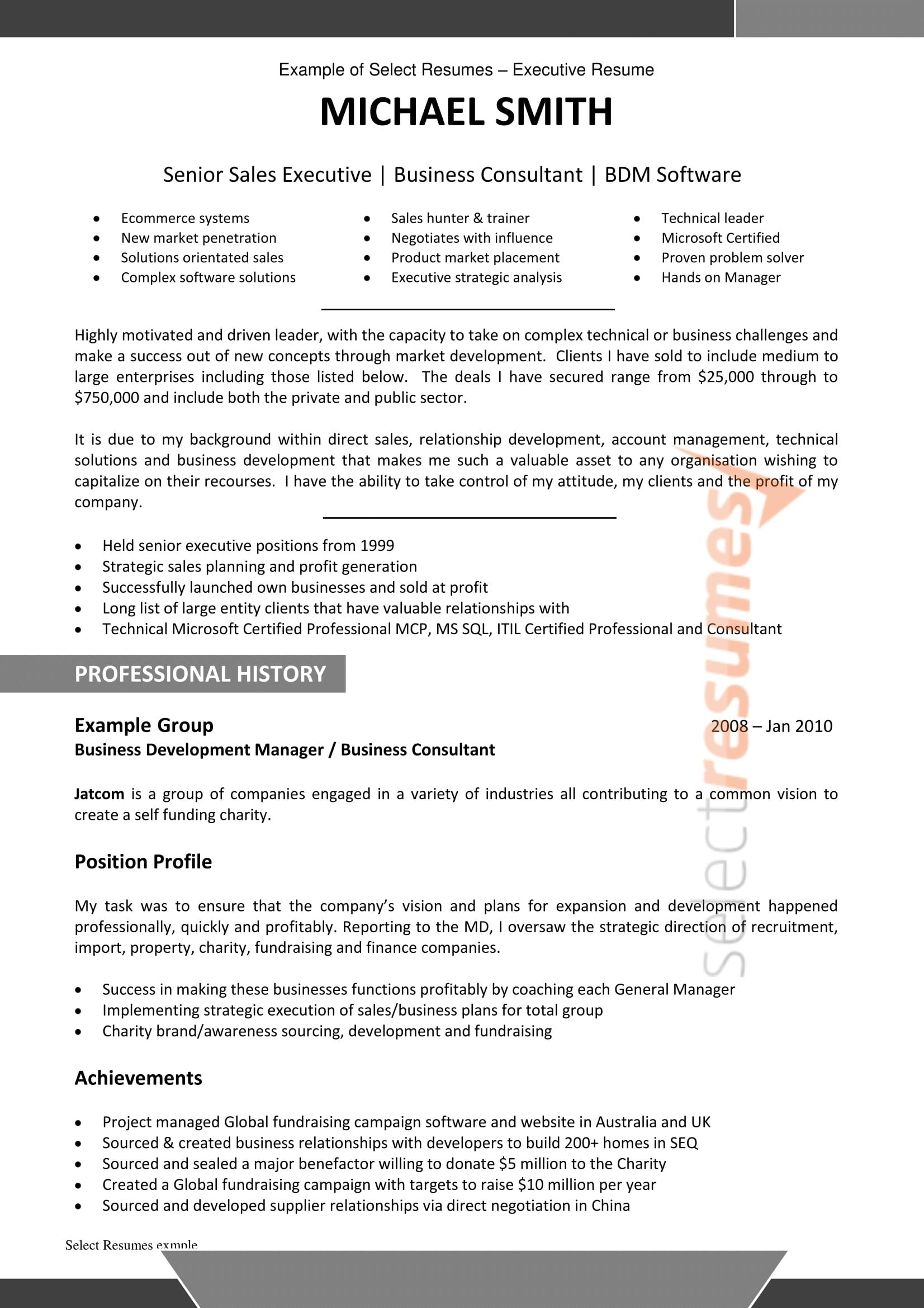 examples of sector for resume