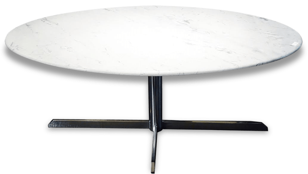 Table Ovale Table Ovale En Marbre Florence Knoll Stone And Plaster White Good Condition Design 28093