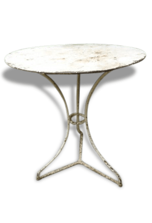 Table Ronde Jardin Metal Ancienne Table Ronde De Jardin Blanche Métal Iron White Worn Classic 128698
