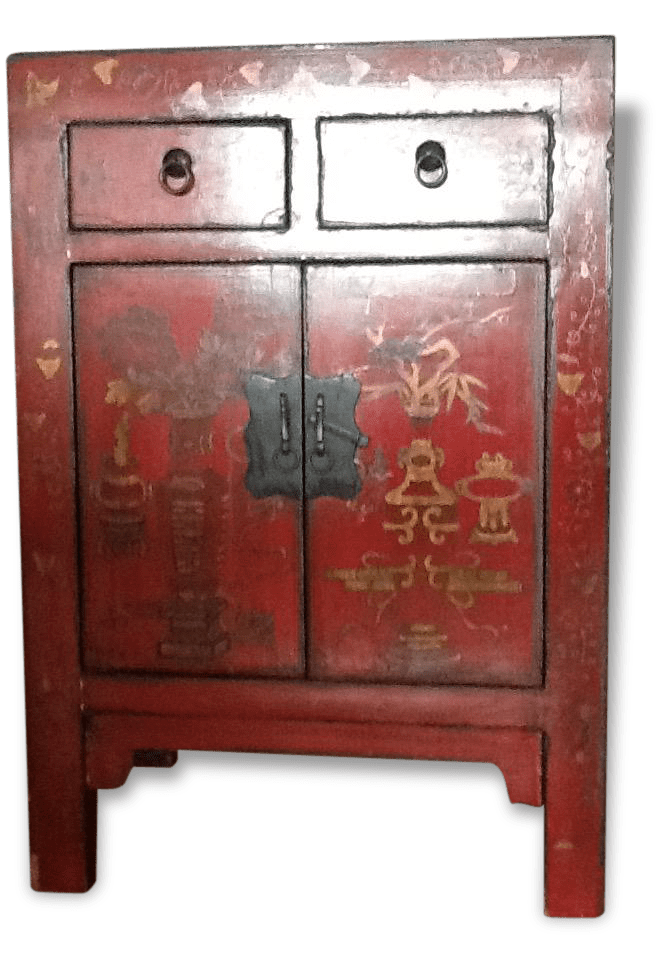 Meuble Chinois Rouge Petit Meuble Chinois Laque Rouge Wood Red Good Condition Ethnic 49595