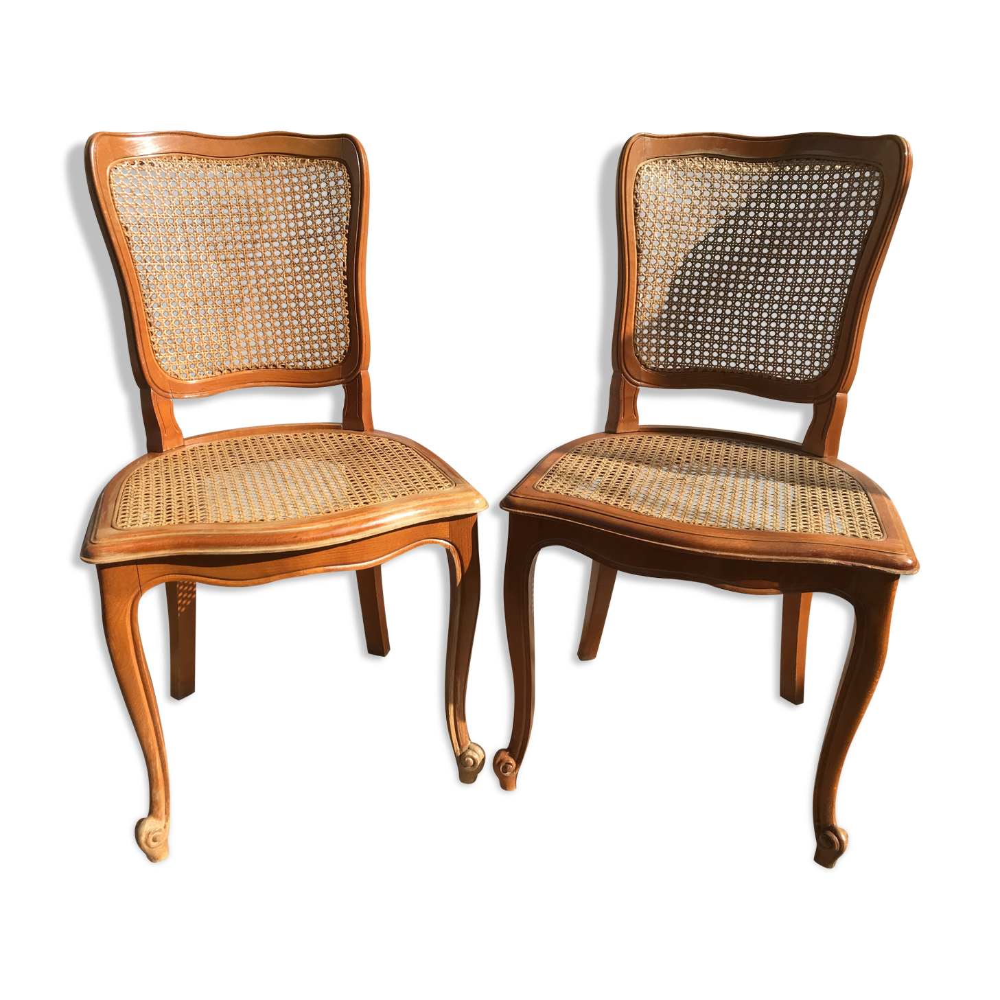 Chaises Style Louis Xv Anciennes Bois Cannage Materiau