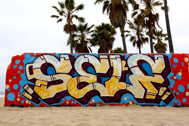 self selfuno graffiti venice beach wall piece los angeles april 2012