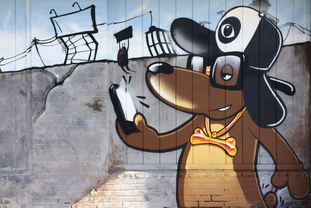 self selfuno selfie dog solid gold chain graffiti character melrose normandie hollywood los angeles january 2014