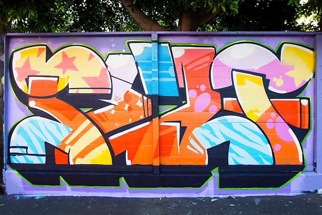 self uno selfuno word letters graffiti piece burner wall public art mural melrose west hollywood los angeles june 2015