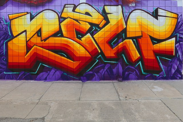 selfuno self graffiti mural art piece letters gradient burner 3d hecho los angeles culver city november 2015