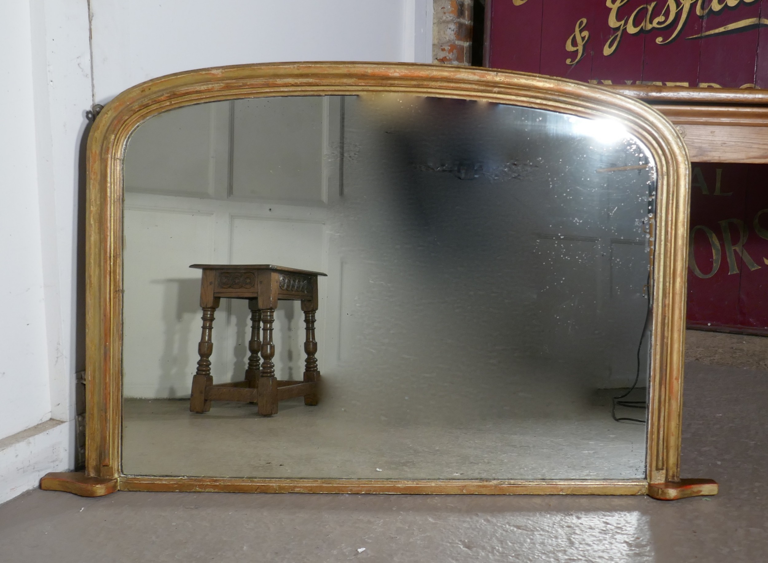 Shabby Look Victorian Original Shabby Look Gold Over Mantle Mirror
