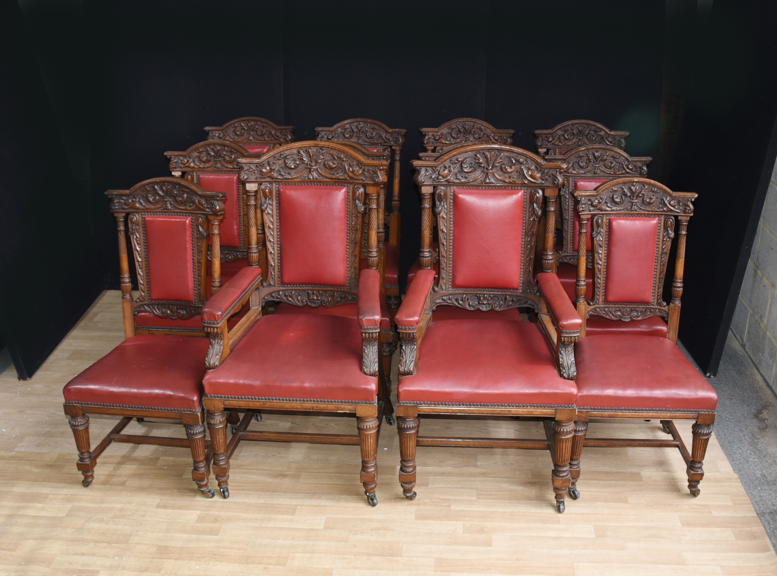 Dining Set 12 Chairs Set 12 Antique Oak Carved Dining Chairs In Gillows Manner