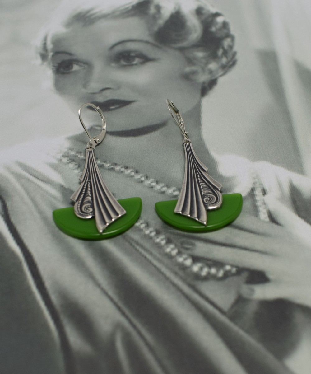 Art Deco Style Earrings Uk Art Deco Modernist 1930 S Drop Earrings 588062