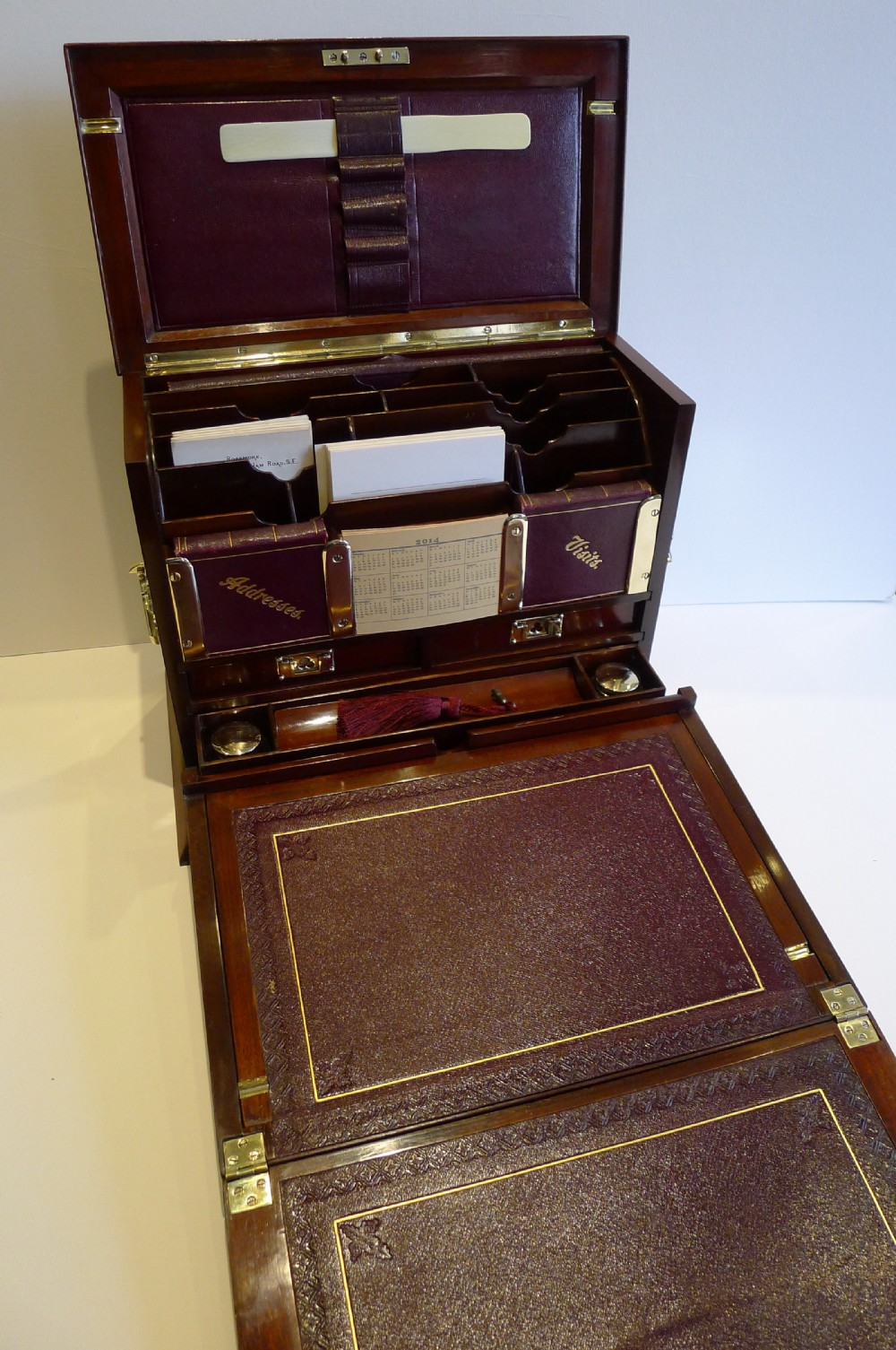 Stationary Boxes Antique English Inlaid Mahogany Stationery Cabinet Writing Box C