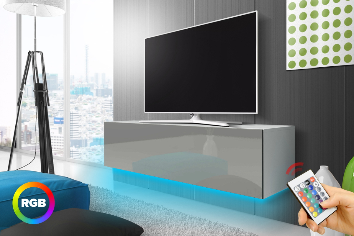 Meuble Tv 140 Cm Blanc Meuble Tv Suspendu Lana 140 Cm Blanc Mat Gris Brillant éclairage Rbg Multicolore Style Moderne