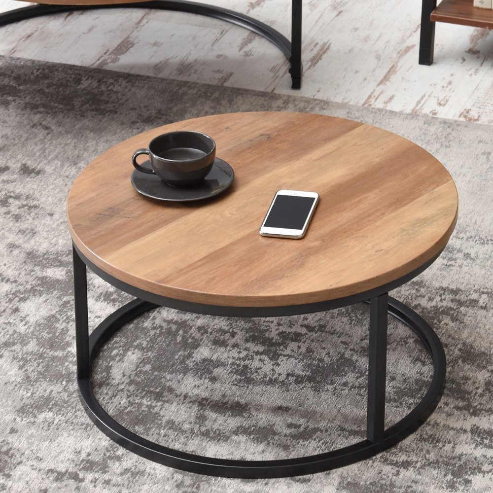 Table Ronde De Salon Table Basse Table De Salon Kodia Effet Noyer Noir 60 Cm Table Ronde