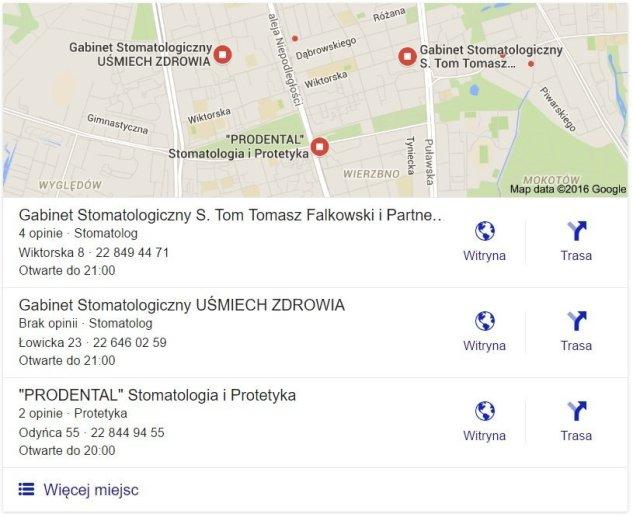 wyniki wyszukiwania z mapami w google - lokalne seo