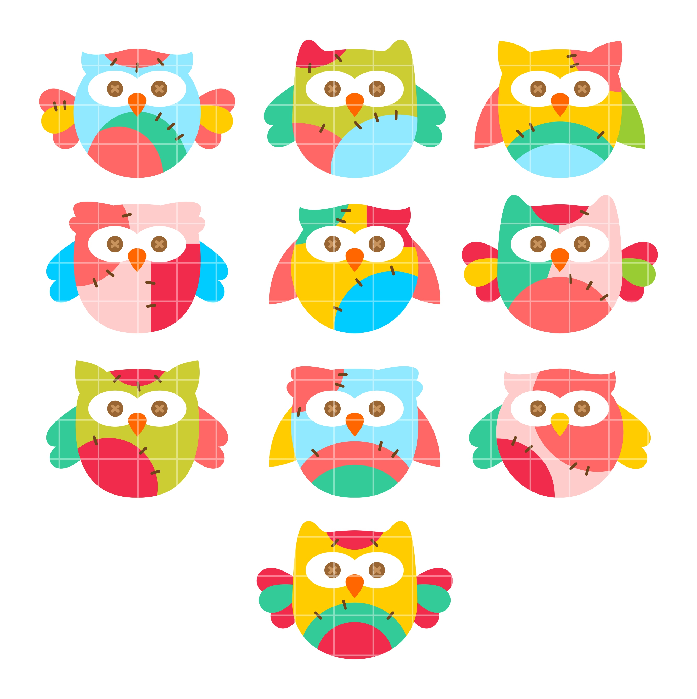 Colorful Pictures Of Owls Colorful Owl Clipart
