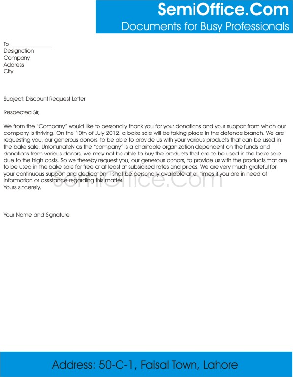 Discount Request Letter Template