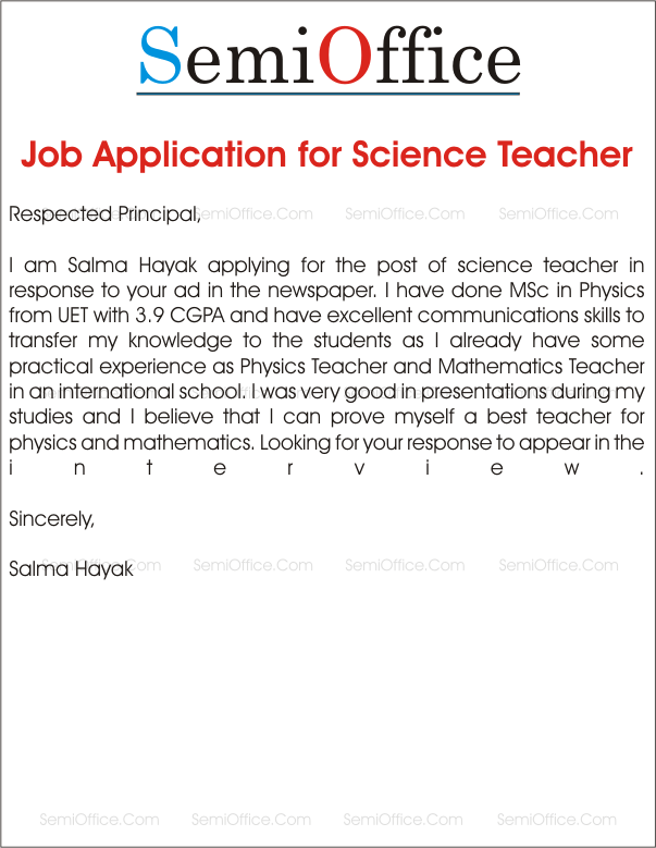 Application Letter By Fresher Sample Format Templates Application For School Teacher Job Free Samples