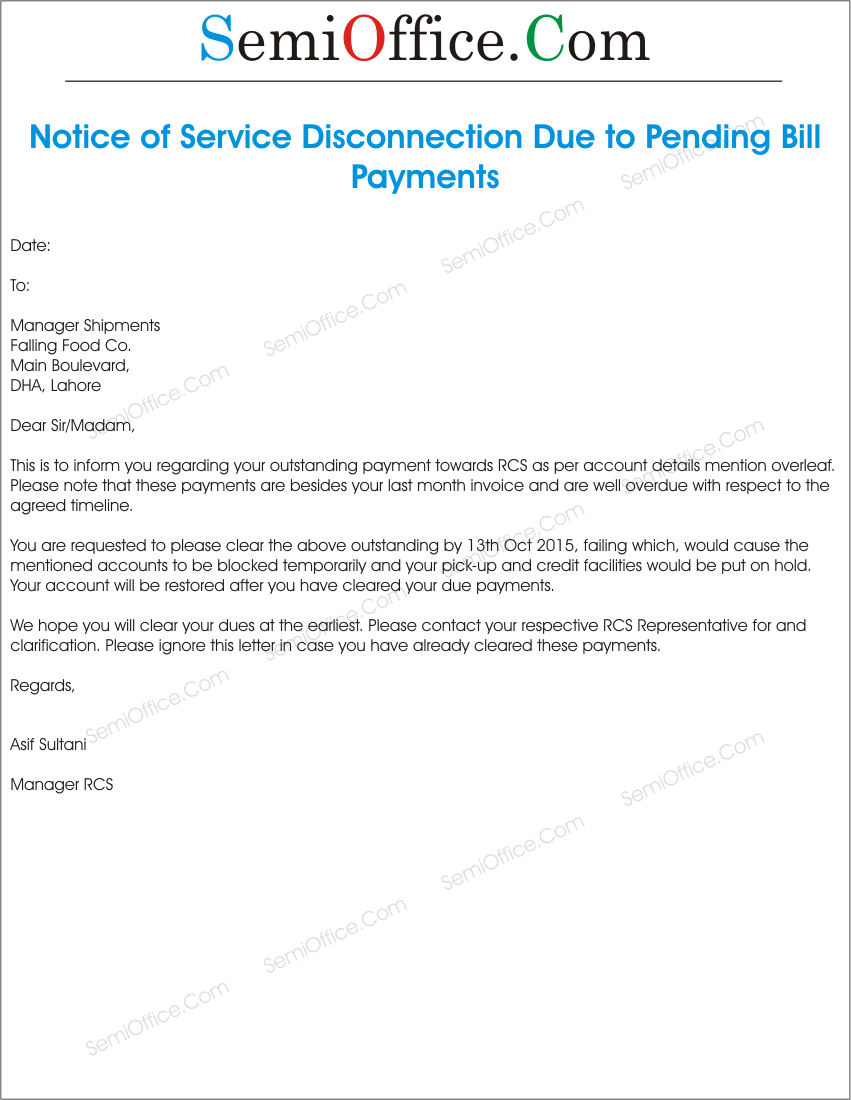Mahadiscom Maharashtra State Electricity Distribution Co Sample Notice Of Service Disconnection Due To Bill