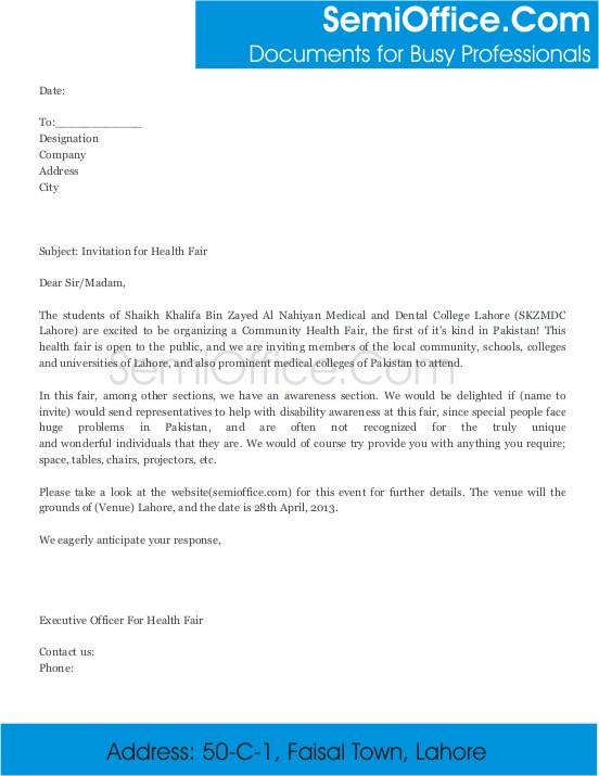 Special Event Invitation Letter Sample Invitation Letter For Health Fair In Medical University
