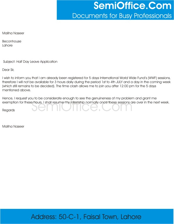 Letter Format For Apply School Leave – Leave Application Form for Employee