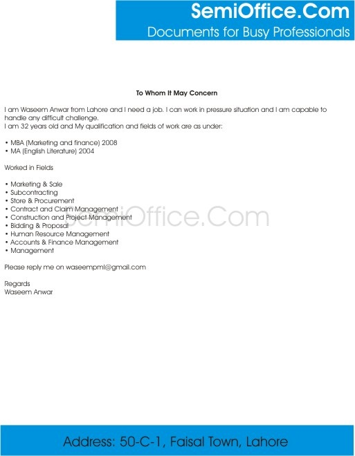 Letter for MBA Marketing with Experience - marketing cover letter