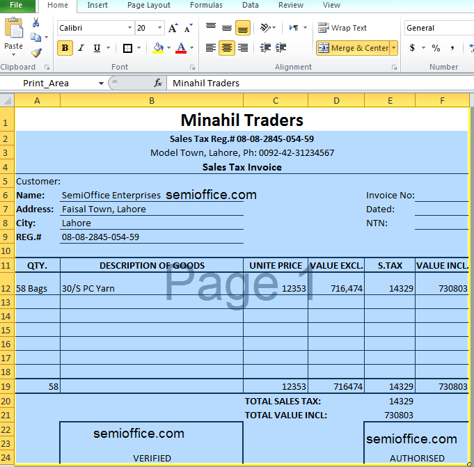 excel sales invoice template – residers, Simple invoice