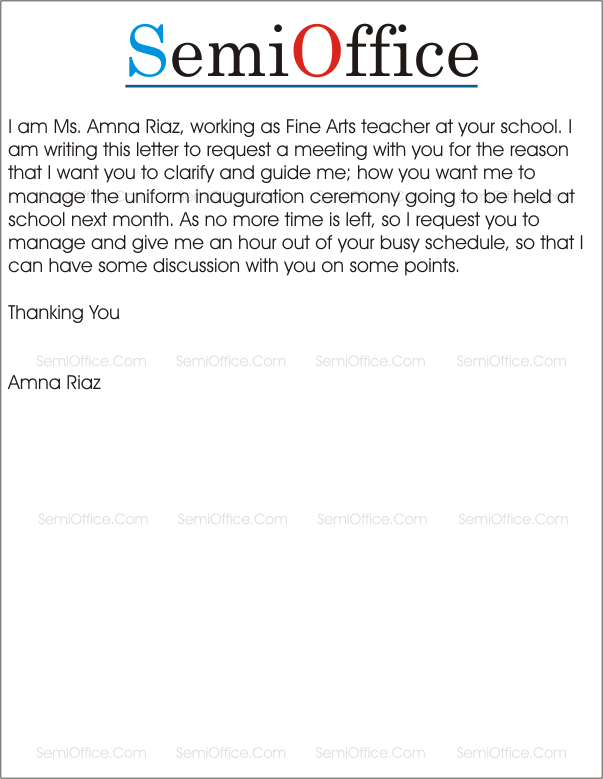 Sample Letter Requesting A Meeting With Principal | Cover Letter ...