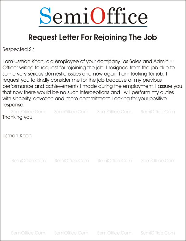 sample letter asking for job back