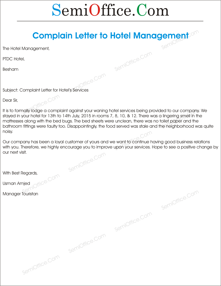 Free Sample Complaint Letters Free Sample Letter Templates Complaint Letter To Hotel Management