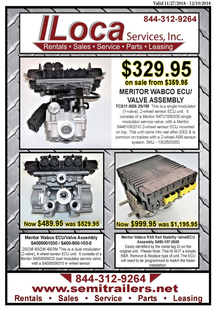 Parts Flyer Meritor ABS ECU / Valves - Prices Good 11/27/2018 - 12