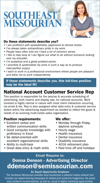 National Account Customer Service Rep, Southeast Missourian