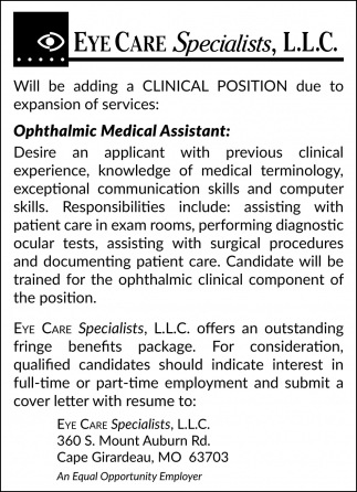 Ophthalmic Medical Assistant, Eye Care Specialists, Llc