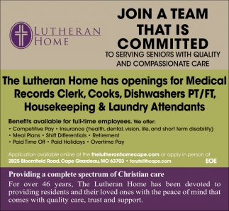 Housekeeping Openings Various Job Openings The Lutheran Home Cape Girardeau Mo