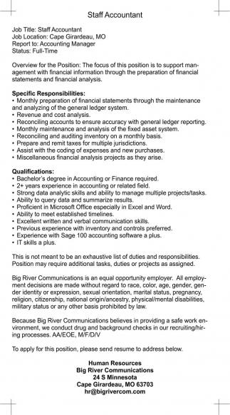 Staff Accountant, Big River Com - Human Resources