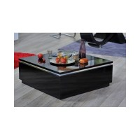 Orde black high gloss coffee table with led lights ...
