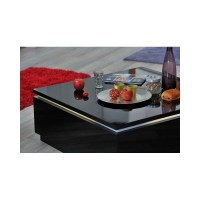 Electra- Black High gloss coffee table with LED lights ...