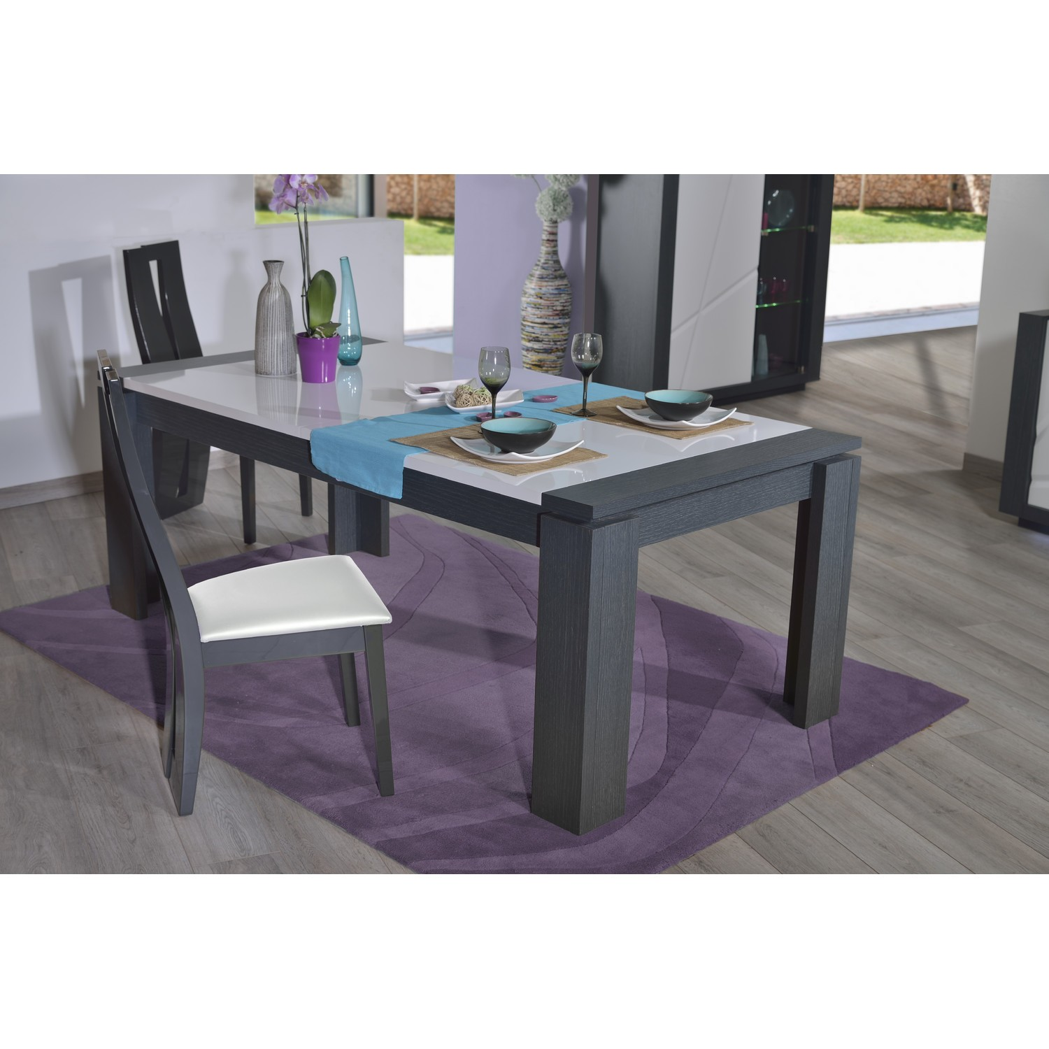 Table En Quartz Quartz Extendable Dining Table With Dark Wood Body