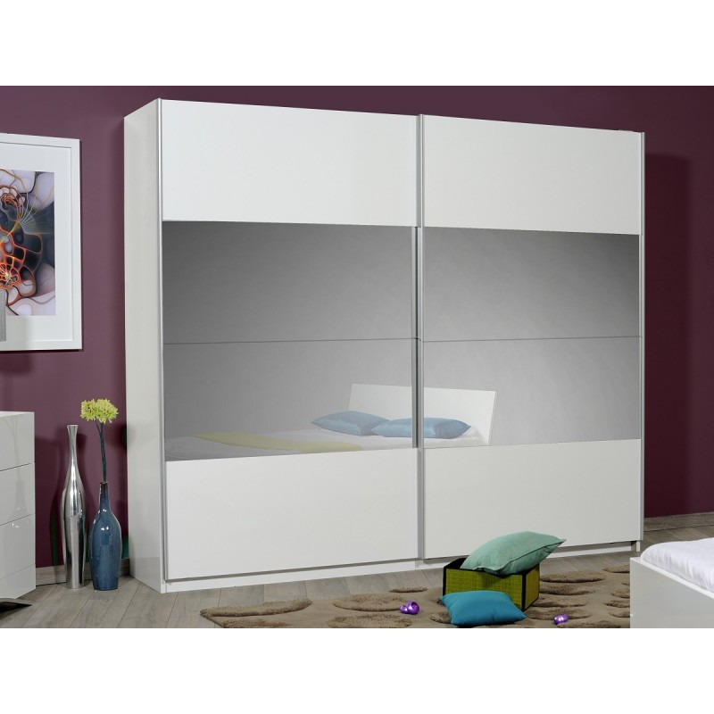 Console Blanche Fly Optimus Large White Gloss Wardrobe With Sliding Doors And