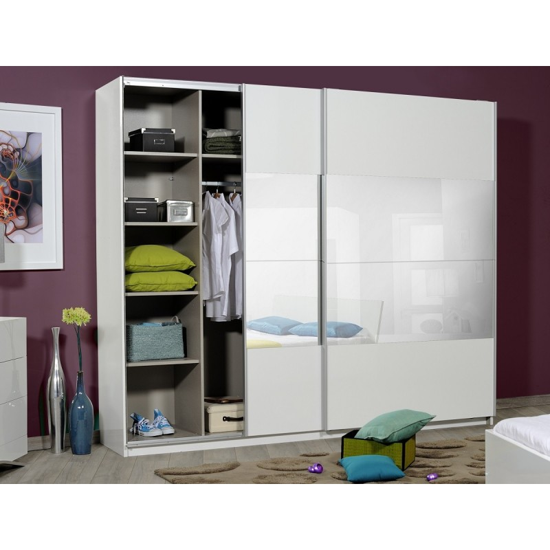 Meuble Tv Avec Porte Coulissante Optimus Large Black Gloss Wardrobe With Sliding Doors And