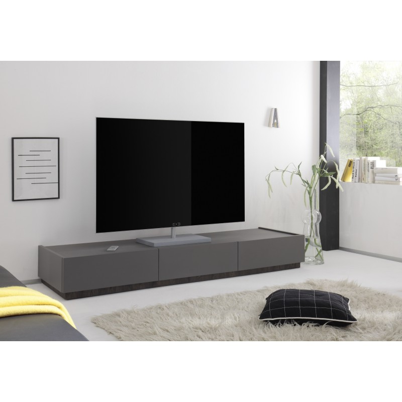 Tv Board Hängend Livia - Grey Matt Lacquered Tv Lowboard With Drawers - Tv