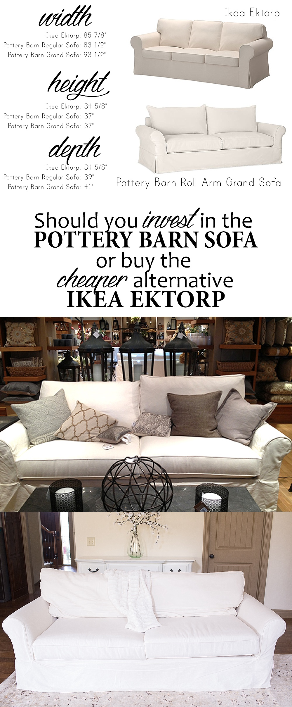Ektorp Sofa Vittaryd White How To Choose A Sofa Ikea Ektorp Sofa Vs Pottery Barn Grand Sofa