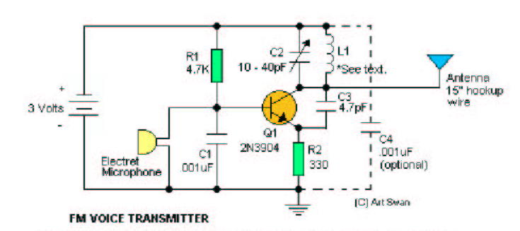 fm transmitter with 2 transistors