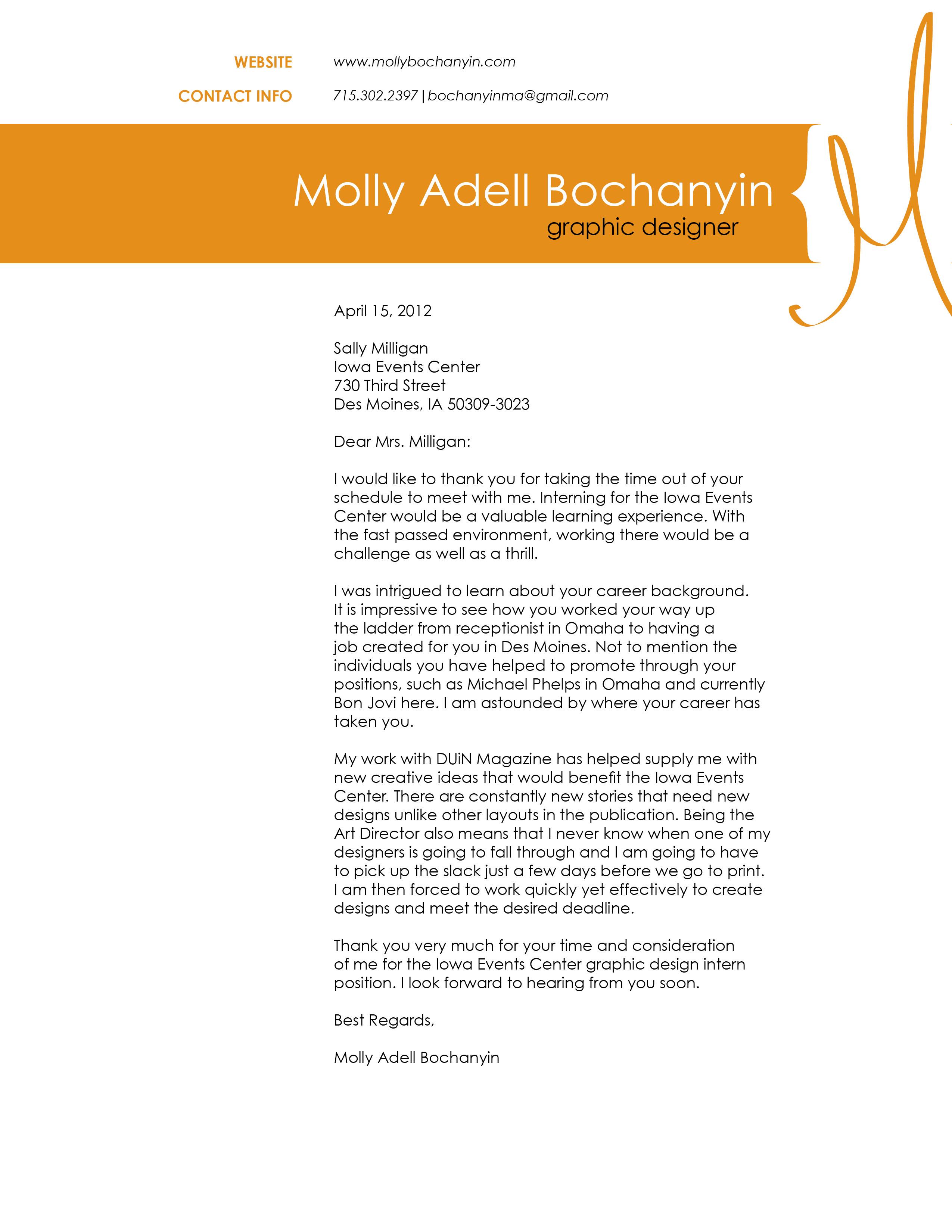 cover letter for graphic design internship