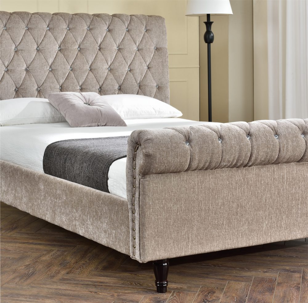 Fabric Bed Frames Brooklyn Diamante Crystal Mink Chenille Fabric Bed Frame