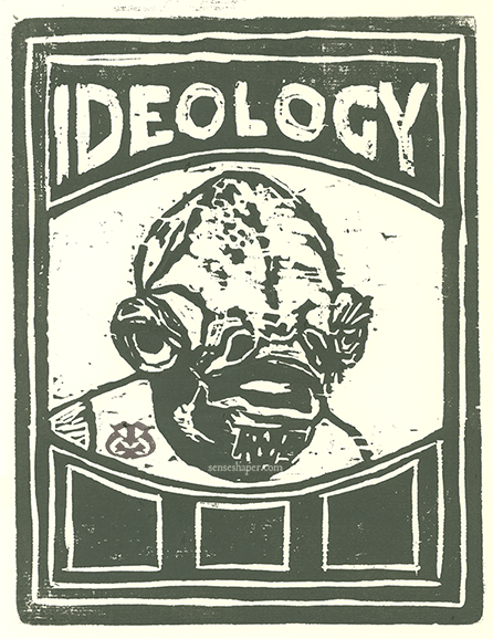 "Woodcut print, ""Ideology: It's A Trap,"" from whiteboard woodblock."