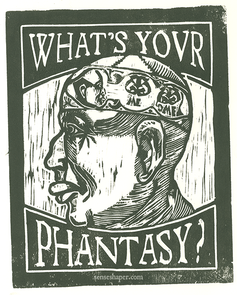 "Woodcut print, ""Self-Portrait I: What's Your Phantasy,"" from poplar woodblock. Based on the ventricle man of Albertus Magnus and a partial copy of the ventricle man from The Noble Lyfe and Natures of Man."