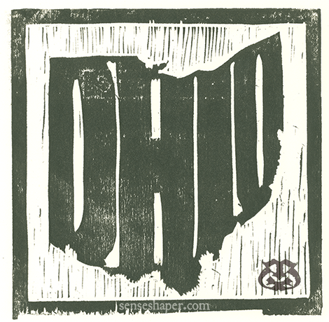 """Woodcut print, """"State Outlines: Ohio,"""" from poplar woodblock."""
